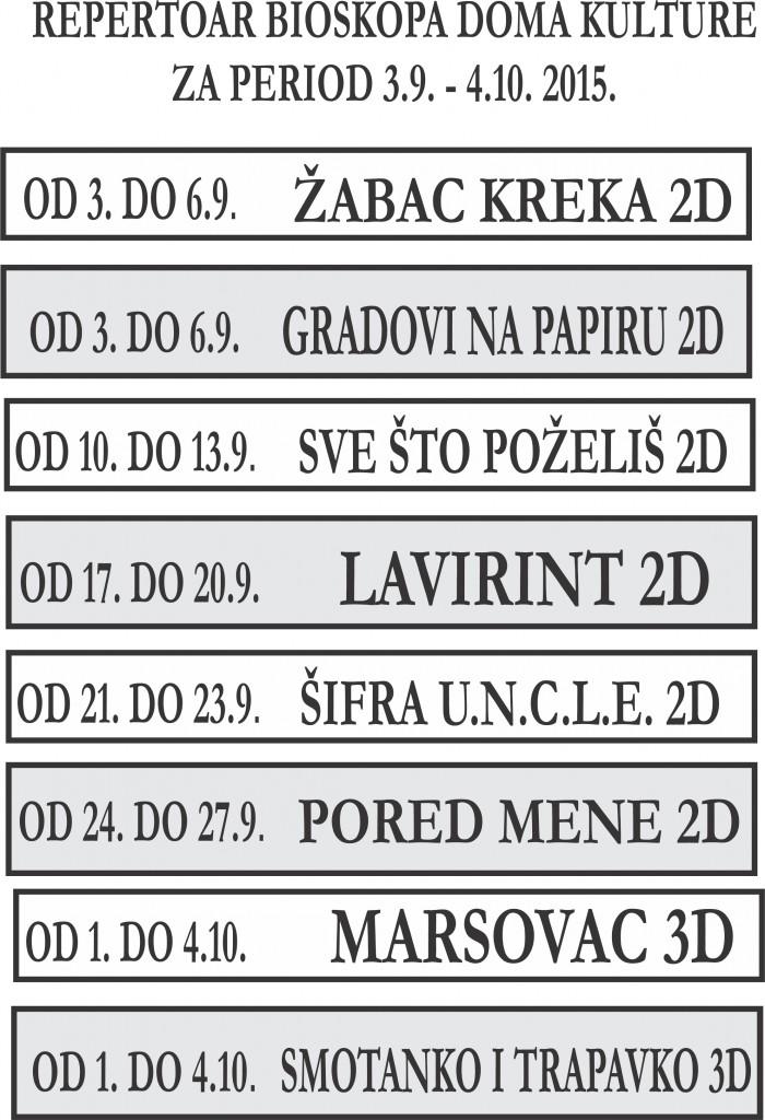 Repertoar bioskopa 3.9.-4.10.2015.