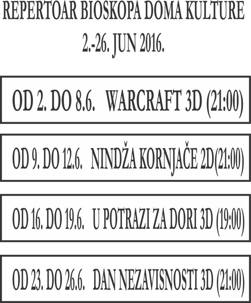 Repertoar 2-26.6. 2016.