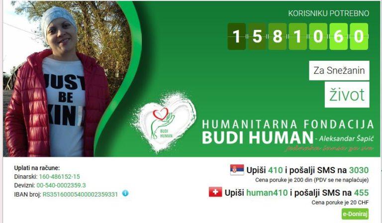 Photo of Budimo humani – za Snežanin život pošaljimo SMS