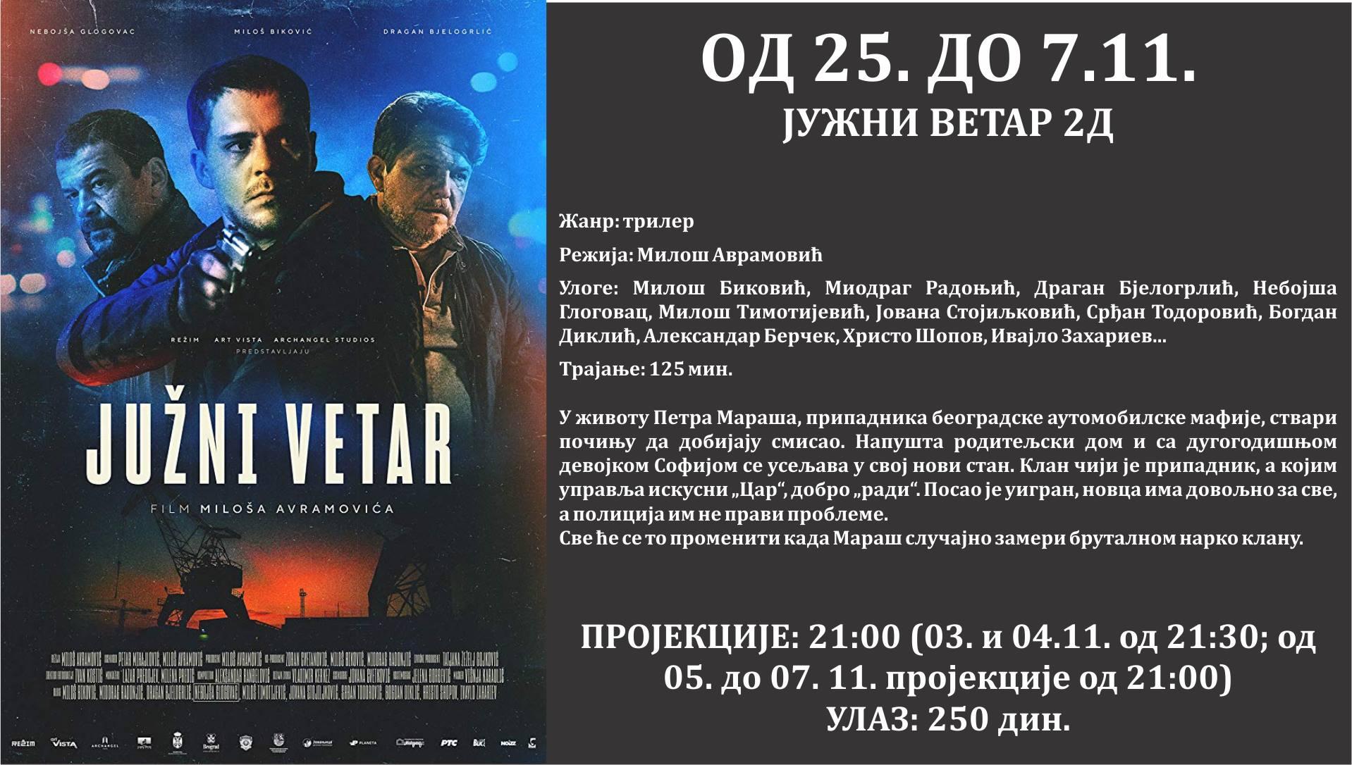 """Photo of """"Južni vetar"""" – domaći blokbaster u bioskopu Doma kulture, zbog ogromnog interesovanja, prikazivaće se do 7. novembra"""