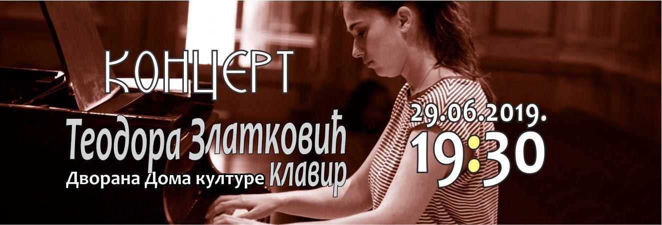 Photo of Koncertna sezona Doma kulture: Nastupa Teodora Zlatković (klavir)