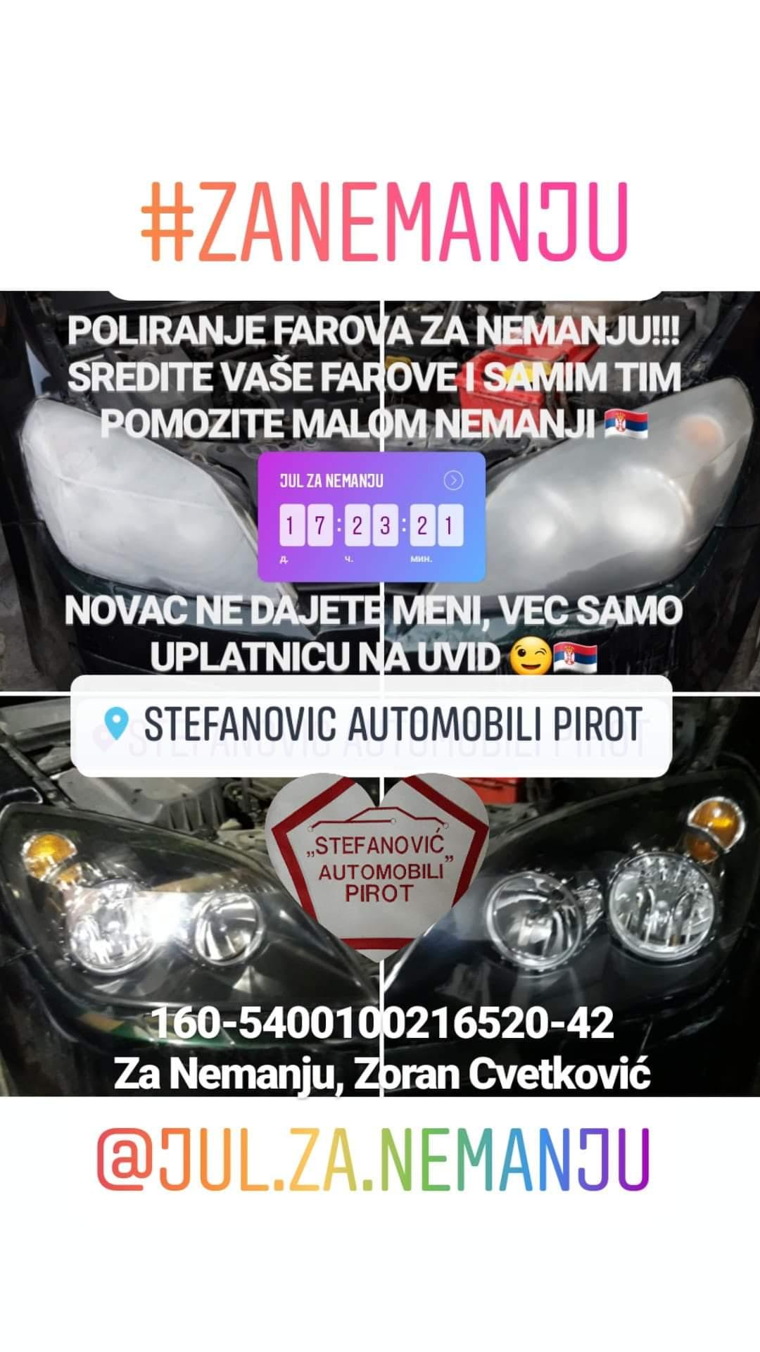 Photo of Uplatite novac za lečenje Nemanje, dobijete besplatno poliranje farova