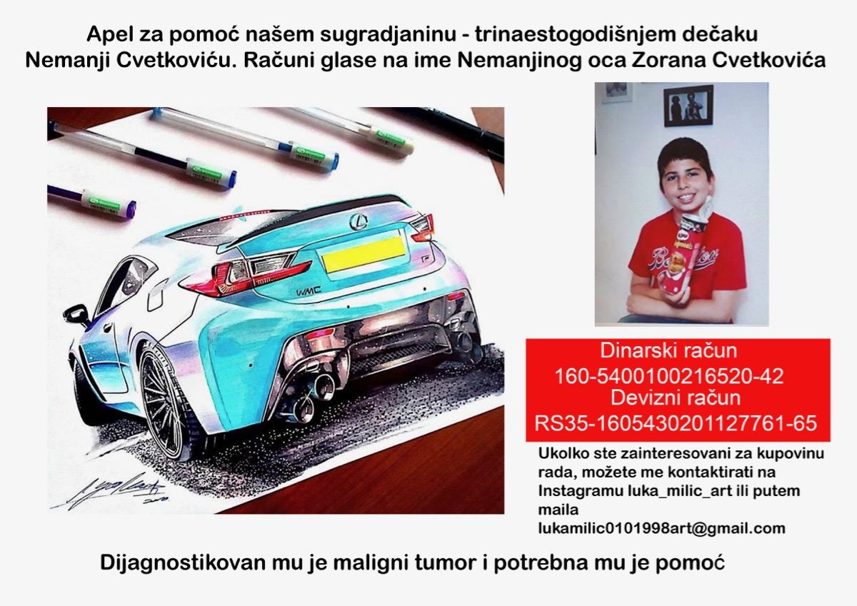 Photo of Prodaje svoj umetnički rad kako bi pomogao lečenje Nemanje Cvetkovića