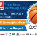 Kadetkinje Gimnazijalca dočekuju beogradski Partizan. Utakmica se igra u subotu od 14 sati