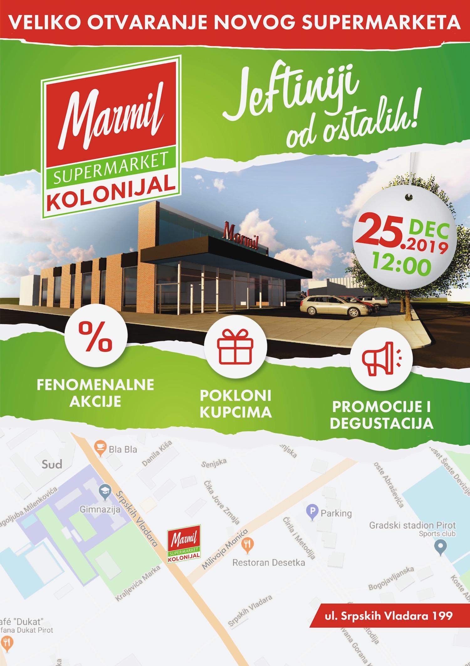 Photo of JEFTINIJI OD OSTALIH: Veliko otvaranje novog MARMIL supermarketa KOLONIJAL – 25. decembra u podne