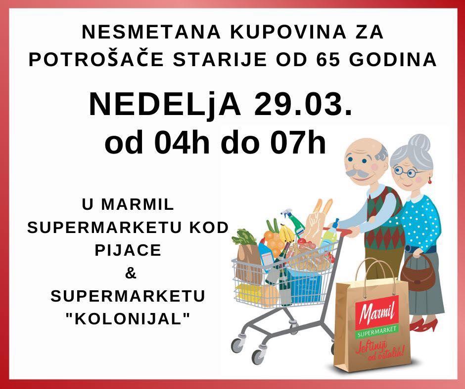 Photo of Za starije od 65 godina u nedelju od 4 do 7 ujutru biće otvoreni Marmil, Gomex, S market,  Lidl i Roda