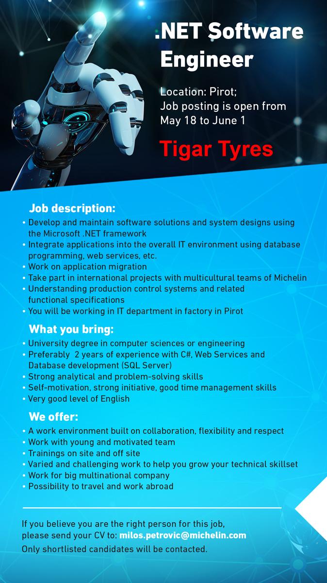 oglas posao .net developer tigar tyres pirot