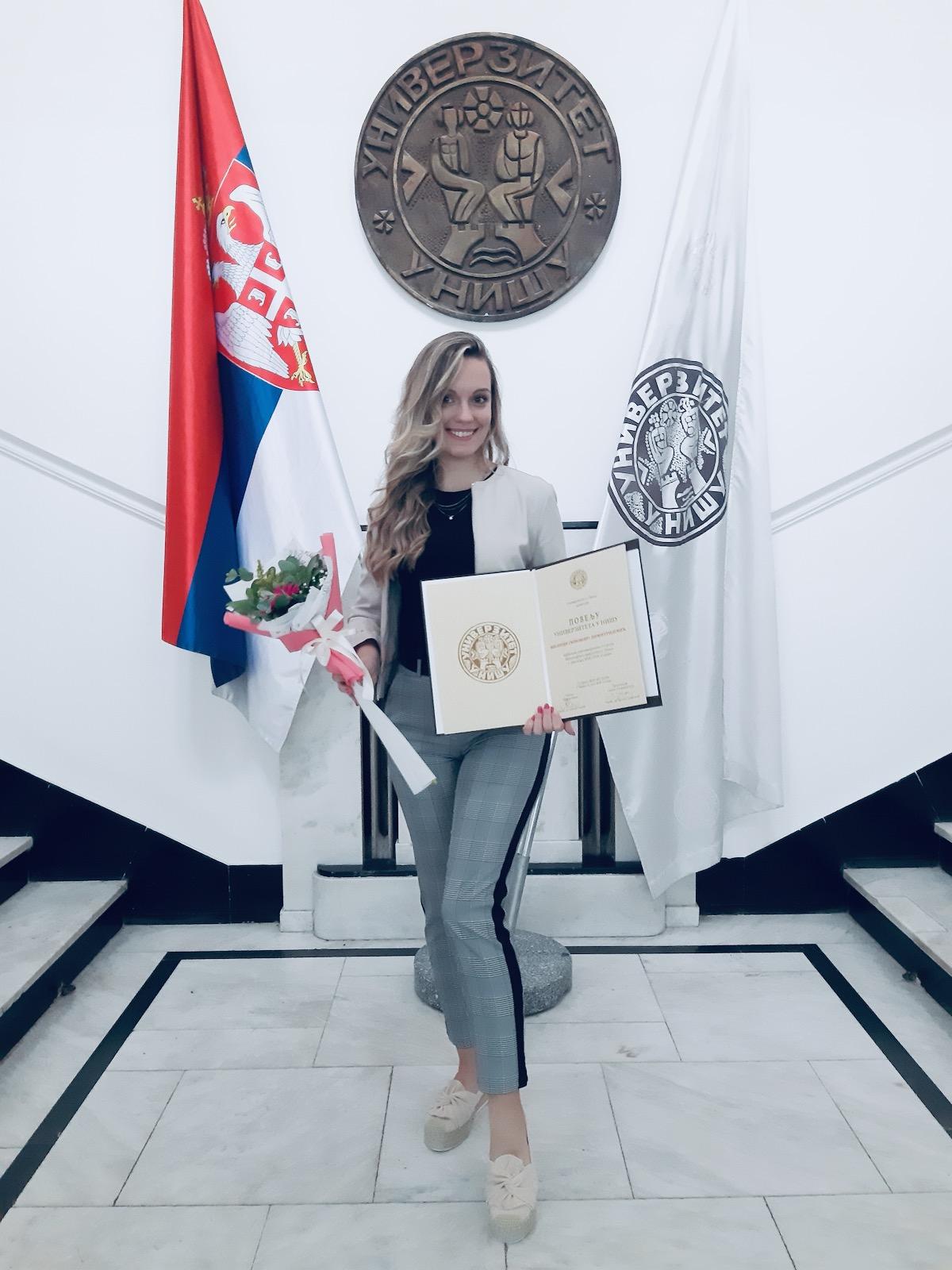 Milica Dimitrijević, dobitnica povelje Univerziteta u Nišu