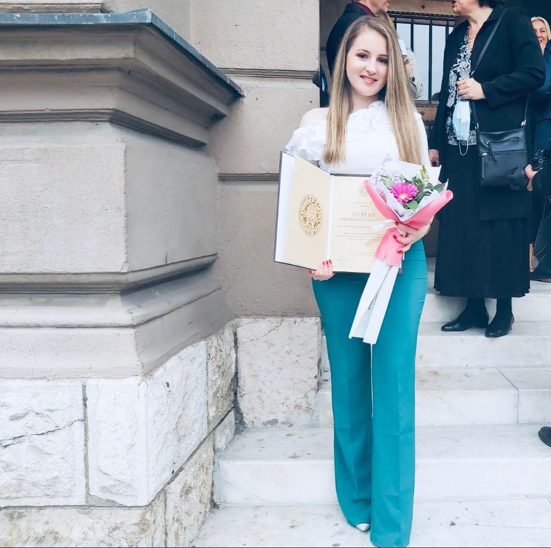 Katarina Jordanović, dobitnica povelje Univerziteta u Nišu