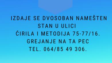 Photo of Izdaje se dvosoban namešten stan u naselju Senjak