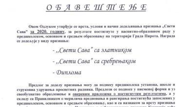 """Photo of Grad Pirot: Otvoren poziv za predloge za ovogodišnje dobitnike priznanja """"Sveti Sava"""""""