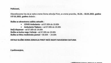 Photo of Dom zdravlja: Radno vreme ambulanți tokom praznika