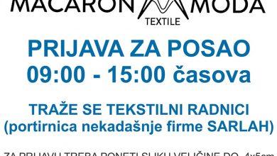 Photo of POSAO: Macaron moda zapošljava tekstilne radnike