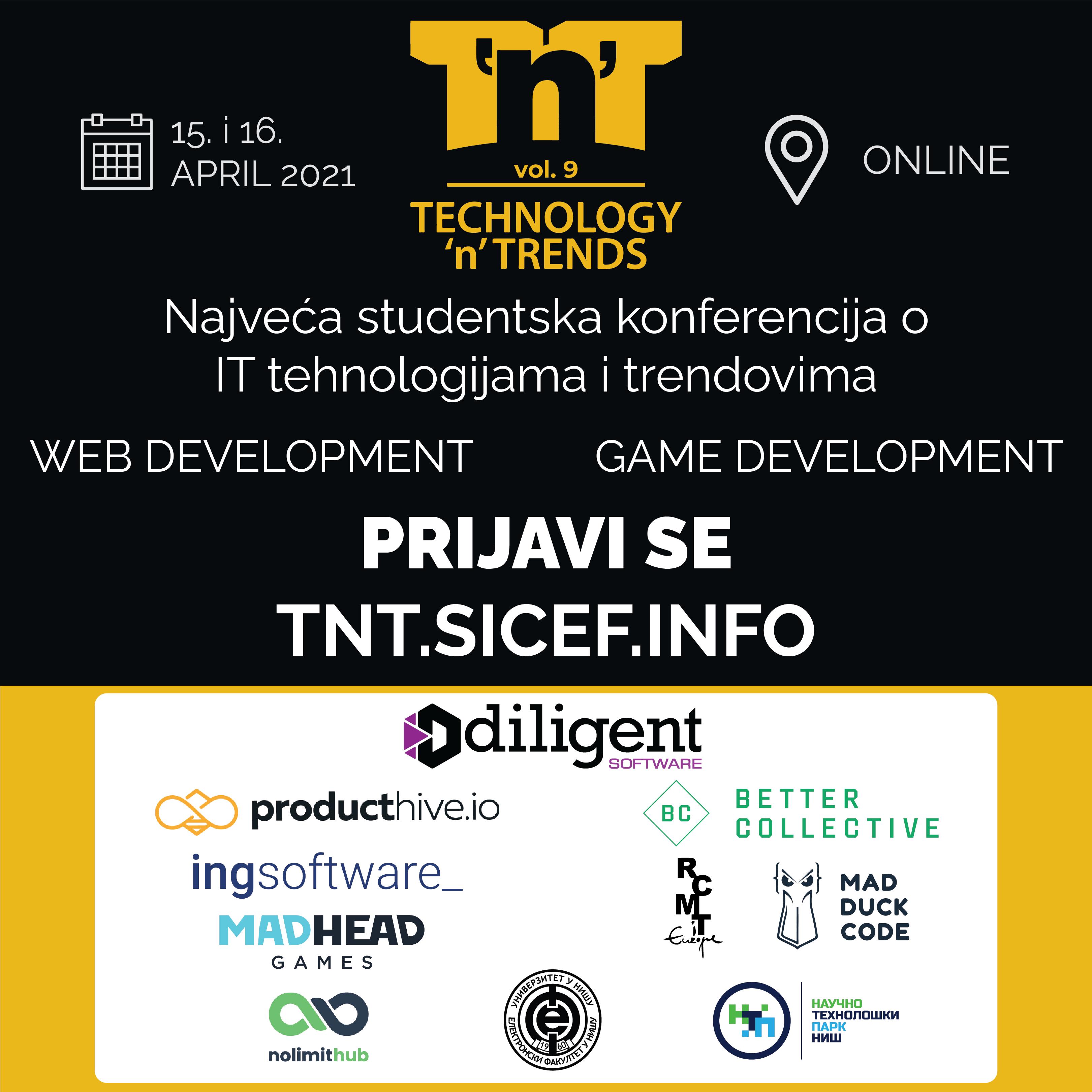 Photo of Studentski inovacioni centar Elektronskog fakulteta (SICEF) organizuje devetu po redu konferencijuTechnology'n' Trends(T'n'T).