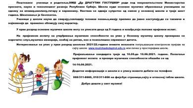 Photo of Prijava za polaganje prijemnog ispita za PRVI RAZRED osnovne muzičke škole 2021/2022.
